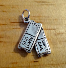 14x19mm Sm Pair Admit One Movie Play Sports Concert Theater Tickets Stubs Sterling Silver Charm