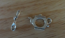 Large Tea Teapot & Spoon Sterling Silver Toggle Clasp
