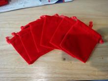 6 Medium Red Velvet-like Drawstring Jewelry Charm Gift Bags