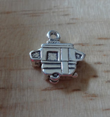1 3D 13x13mm Pop-up Trailer Sterling Silver Charm