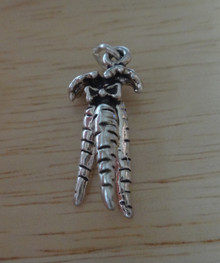 3D bunch of Carrots Sterling Silver Charm