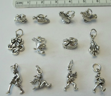 TINY 12 Days of Christmas Sterling Silver Charms