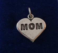 Solid Heavy says Mom Heart Sterling Silver Charm
