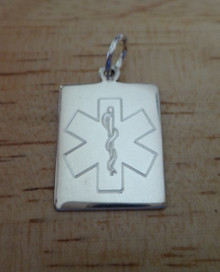 Rectangle Engraveable Medical Alert ID Sterling Silver Charm