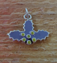 20x17mm Purple & Yellow Epoxy Christmas Holly Sterling Silver Charm