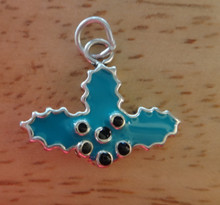3D 20x17mm Blue & Black Epoxy Christmas Holly Sterling Silver Charm