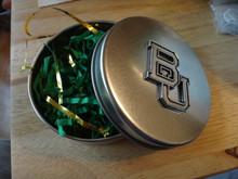 """4"""" Baylor University BU Round Metal Gift Box Tin"""