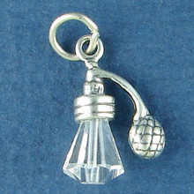 3D 15x17mm Perfume Crystal Atomizer Makeup Sterling Silver Charm