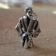 3D 13x21mm Martial Arts Karate or Bath Robe Sterling Silver Charm