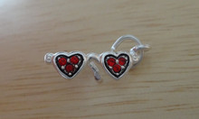 Sunglasses w/ Red Crystals Sterling Silver Charm