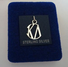 16x12mm Greek Sorority Kappa Delta Circle Drop Sterling Silver Charm