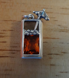 Mai Tai Tropical Drink wth Red CZ and Umbrella Sterling Silver Charm