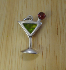 Apple Martini Appletini with Green and Red CZ Sterling Silver Charm