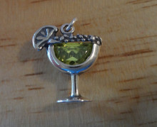 Margarita with Lime Drink and Green CZ Crystal Sterling Silver Charm