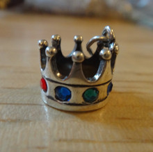Crown with CZ Crystals Sterling Silver Charm