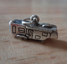 3D 5th Wheel Camping RV Trailer Sterling Silver Charm