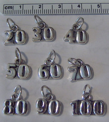 20 30 40 50 60 70 80 90 or 100 Number Sterling Silver Charm