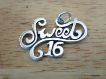 Large 25x15mm Sweet 16 16th Birthday Sterling Silver Charm