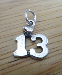 14x15mm 13th Birthday Sterling Silver Charm with a Heart