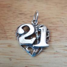 18x18mm 21st Heart Birthday Sterling Silver Charm