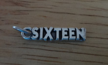 5x20mm Number Sixteen 16 Birthday Sterling Silver Charm