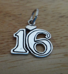 13x20mm Number 16 16th Birthday Sterling Silver Charm