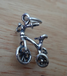 3D 15x18mm Tricycle Trike Bike Bicycle Sterling Silver Charm