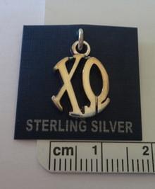 Greek Sorority Chi Omega Circle Drop Sterling Silver Charm
