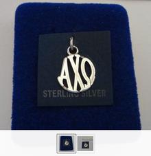 16x14mm Greek Sorority Alpha Chi Omega Circle Drop Sterling Silver Charm