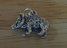 3D Hog Pig Javalina Javelina Sterling Silver Charm