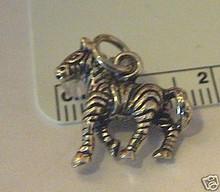 3D 18x16mm Striped Zebra Zoo Animal Sterling Silver Charm