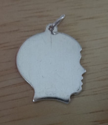 16x18mm Boy Engraveable Silhouette Sterling Silver Charm