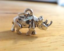 3D 16x11mm Rhino Rhinoceros Zoo Animal Sterling Silver Charm