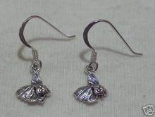10x25mm Betta? Angelfish? Fish Sterling Silver Charm Earrings