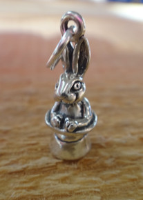 3D 19x7mm Magic Rabbit Bunny in a Hat Sterling Silver Charm