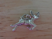 Flying Reindeer Holiday Christmas Sterling Silver Charm