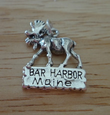 Moose sign says Bar Harbor Maine Sterling Silver Charm