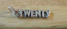 5x20mm Number Twenty or 20th 20 Birthday Sterling Silver Charm