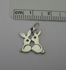 Flat Double Two Bunny Rabbit Sterling Silver Charm