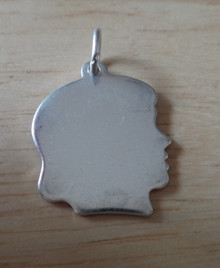 16x18mm Girl Engraveable Silhouette Sterling Silver Charm