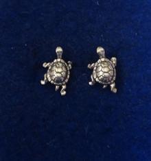 Box Turtle Tortoise Sterling Silver Studs Earrings