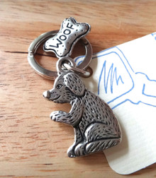 Dog with a Bone that says Woof Pewter Keychain Keyring
