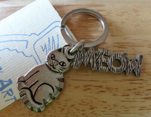 Cat and says MEOW Pewter Cat Keychain Keyring