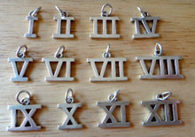 Roman Numeral Number 1 2 3 4 5 6 7 8 9 10 11 12 Sterling Silver Charms
