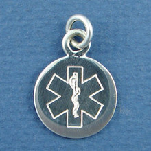 Round Engraveable Medical Alert ID Sterling Silver Charm