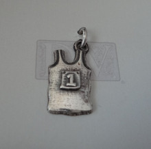 9x17mm Sport Tank Top Track Basketball Jersey Sterling Silver Charm