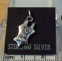 Bathing Suit says I Love to Swim Sterling Silver Charm