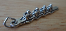 3D 5x35mm Sculling Rowers Rowing Team Sterling Silver Charm