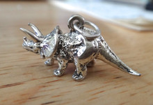 29x14mm 3D solid Triceratops Dinosaur Sterling Silver Charm