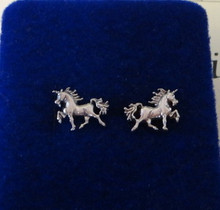 Tiny 8x12mm Unicorn Sterling Silver Studs Posts Earrings